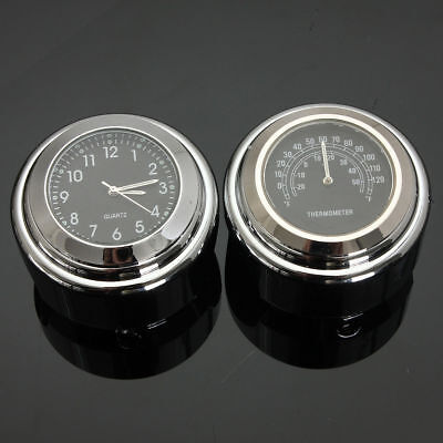 """Thermometer Motorcycle For Harley Clock Handlebar Dial 1"""" Accessories 1'' Watch"""