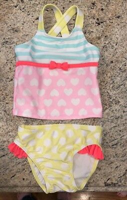 Toddler Girl Cat And Jack Two Piece Bathing Suit EUC