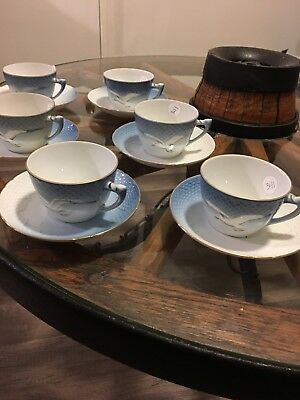 Set of 6 B&G BING AND GRONDAHL DENMARK TEA CUPS AND SAUCERS SEAGULL DESIGN