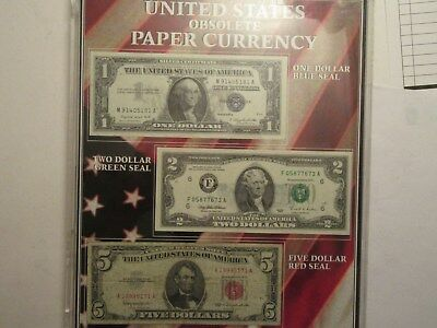 US Obsolete Currency Set, acrylic holder, 1957A $1 Silver Cert, 1963 $5, 1995 $2