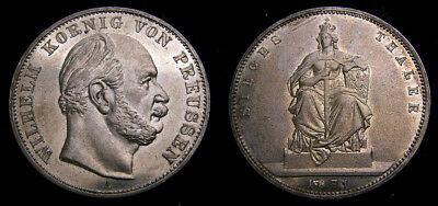 Germany 1871A Prussia AR Thaler .900 .5359 Oz Victory Over France Toned UNC 6340