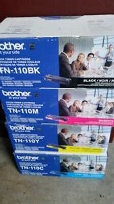 Brother TN-110 NEW SET OF 4 GENUINE, black cyan yellow magnta FACTORY SEALED BOX
