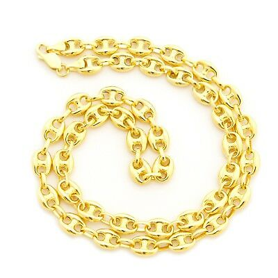"""Beauniq Men's Solid 14k Yellow Gold 6.9mm Puffed Mariner Chain Necklace, 24"""""""