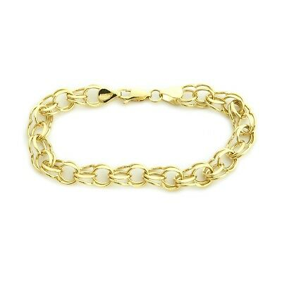 """Solid 14k Yellow Gold 8mm Solid Round Double Link Chain Bracelet, 8"""""""