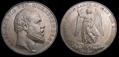 Germany 1871 Wurttemberg Thaler .900 .5359 End of Franco-Prussian War UNC 6346