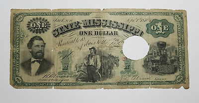 1870 Cr.53 $1 The State of Mississippi - Jackson, MISSISSIPPI Note