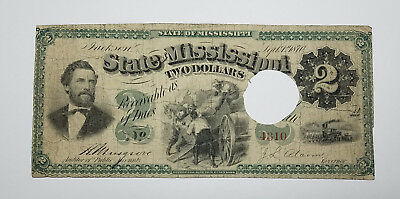 1870 Cr.52 $2 The State of Mississippi - Jackson, MISSISSIPPI Note