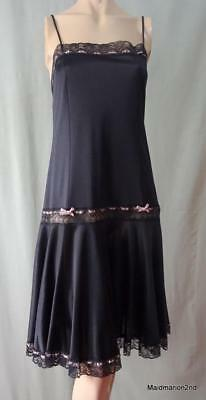 St MICHAEL M&S VINTAGE SHEER BLACK NYLON FLAPPER STYLE NIGHTIE CHEMISE Med UK 14