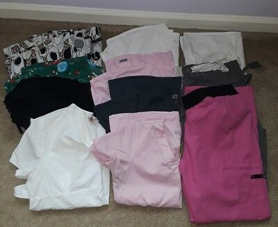 Scrubs-11 Piece Lot- 9 Tops Size Small- 2 Bottoms Size Pm & S- Great Condition