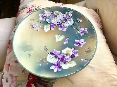 Antique Hand Painted Violets Nippon Art Nouveau Large Plate Moriage 8""