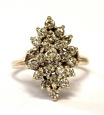 14k yellow gold 1ct SI1H diamond cluster ring 4.8g estate vintage womens antique