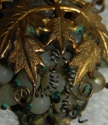 antique chinese necklace jade nephrite beads asian grapes victorian earring ++