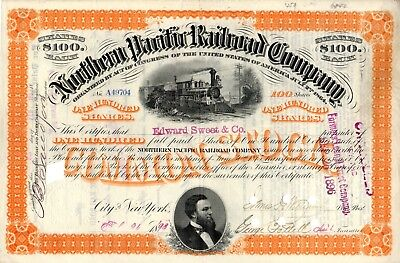 Northern Pacific Railroad Company 1893 Stock Certificate - orange