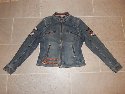 Harley Davidson Jean Jacket Women's L Patches Biker for Life No Cages Sewn Eagle
