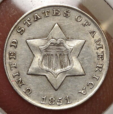 1851 Three Cent Silver, Sharp Almost Uncirculated - Discounted    0411-04