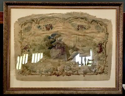 Victorian Gold FRAMED ANTIQUE FRENCH Renaissance TAPESTRY NeedlePoint Wall Art