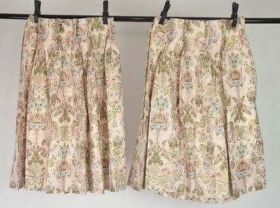 Vtg Set Of 2 Dusty Pink Fl Gold Print Short Window Curtains D 33 Long