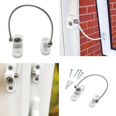 Metal Window Door Security Restrictor Child Baby Safety Cable Lock Catch Key