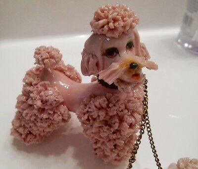 Vintage Porcelain Pink Poodle And Two Puppies, Made In Japan