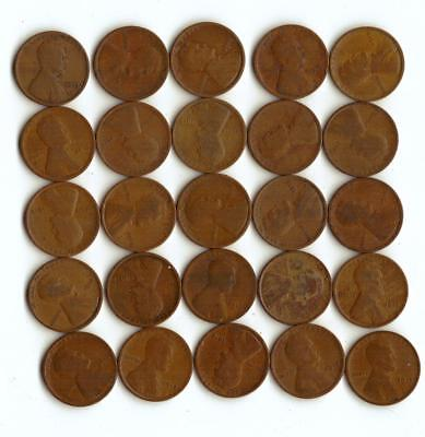 One Half Roll (25) Of Wheat Cents,  All 1913 P