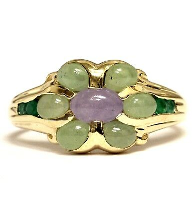 14k yellow gold emerald amethyst womens ring 3g estate vintage ladies antique