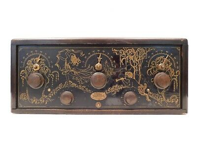 VINTAGE 20s ANTIQUE VERY RARE OLD GOLD STENCILED MODEL RFL CROSLEY RADIO & TUBES