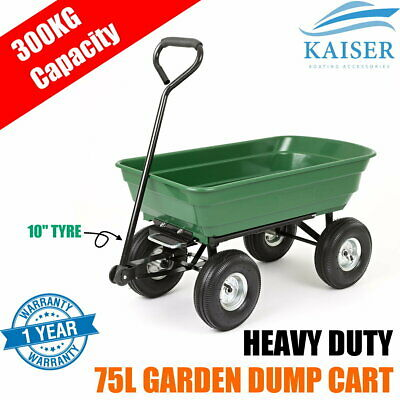 75L 300kg Garden Dump Cart  Tip Trolley Hand Folding Trailer Wagon Lawn Wheelbar