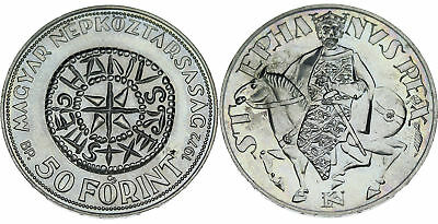1972 Hungary - 50 Forint St. Stephen : Scarce Very Low Mintage, Unc Silver Coin