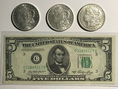 Rare 1921 Pds Morgan 90% Silver Dollars & Rare 1950-A $5.philly Chrisp Gem Pic's