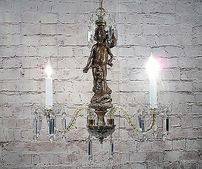 Antique Vintage Chandelier Crystal Standing Cherub 3 Light Fixture Rewired Angel