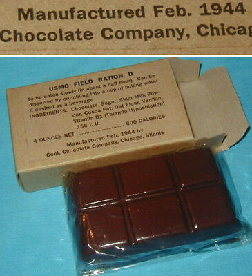 Original WWII U.S. Marine Field Ration D Chocolate USMC - Unused dated 1942