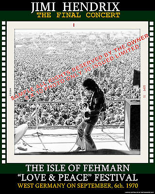 JIMI HENDRIX  ISLE OF FEHMARN SPECIAL EDITION PHOTOGRAPH  SEPT 70 8x10