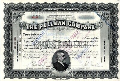 The Pullman Company of Illinois 1906 Stock Certificate - black