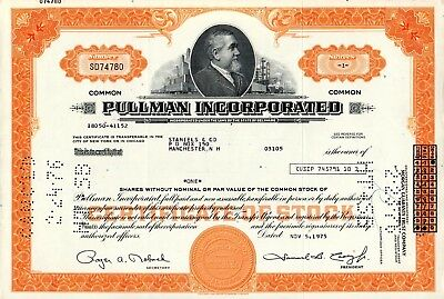 Pullman Incorporated of Delaware 1975 Stock Certificate