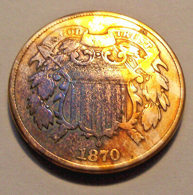 1870 U.S. Two Cent Piece, Discolored (LOT X671)