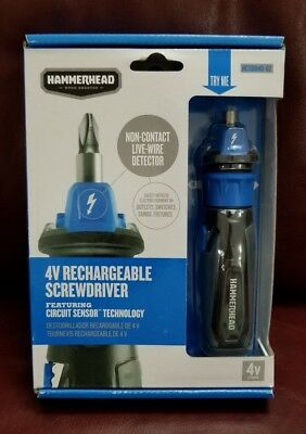 HAMMERHEAD 4V Lithium Rechargeable Screwdriver with Patented Circuit Sensor Tech