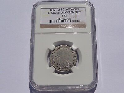 1682 Tlb Poland 6 Groschen Laureate Armored Bust Km# 128 Ngc Fine-12 Must See!!