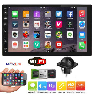 "7"" inch Smart Android 8.1 AUX WiFi Double DIN Car Radio Stereo Player GPS+Camera"