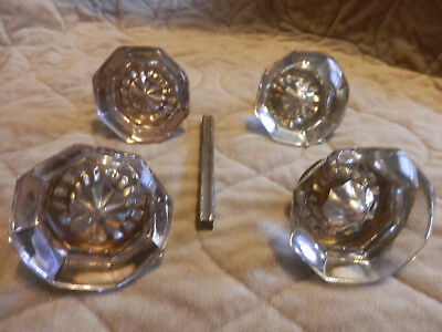 (2) Two Matching Vintage Octagonal 8 Point Sided Glass & Brass Door Knob