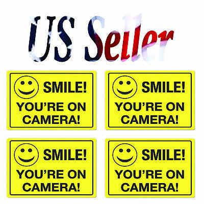 4 pack Smile You're On Camera Security Video Camera Surveillance Sign Sticker