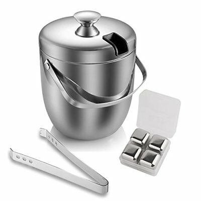 Double Wall Ice Bucket Insulated Stainless Steel with Tongs and 4 Cubes 3 Quart