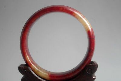 Vintage Chinese Old Natural red blood jade Hand-carved jade bangle ,R-115
