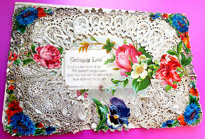 Antique Lovely  Paper Lace  Valentine, Love Poem.
