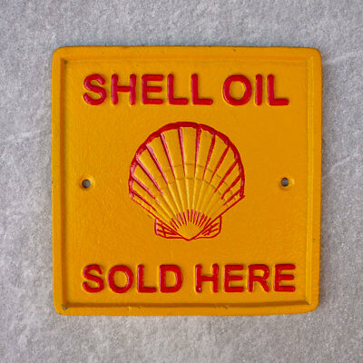 Shell Oil Advertising Sign Repro 1920s Cast Iron Plaque 17cm Garage Petrol