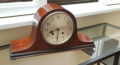 Vintage wooden Napoleon hat mantle clock with key & pendulum.
