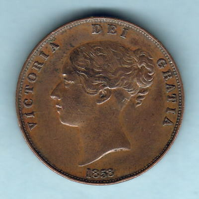 Great Britain. 1858 Penny..  (Possible 8 over 3??)  aEF