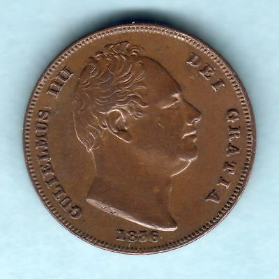 Great Britain.  1836 William 1111 - Farthing.. EF/aEF - Part Lustre