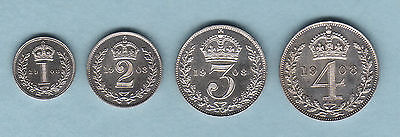 Great Britain. 1908 Edward VII - 4 Pce Silver Maundy Set.. 1d,2d,3d, & 4d.