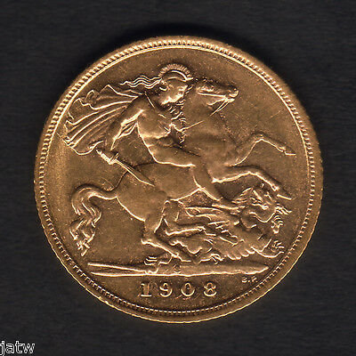 Australia.  1908 Sydney - Half Sovereign..  Much Lustre..  aEF/EF