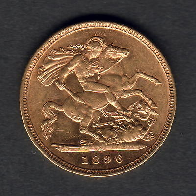 Australia. 1896 Melbourne - 1/2 Sovereign..  Near Full Lustre on rev.. gEF/aUNC